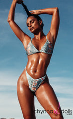 Sorrento: High Cut Bathing Suit in Blue Snake
