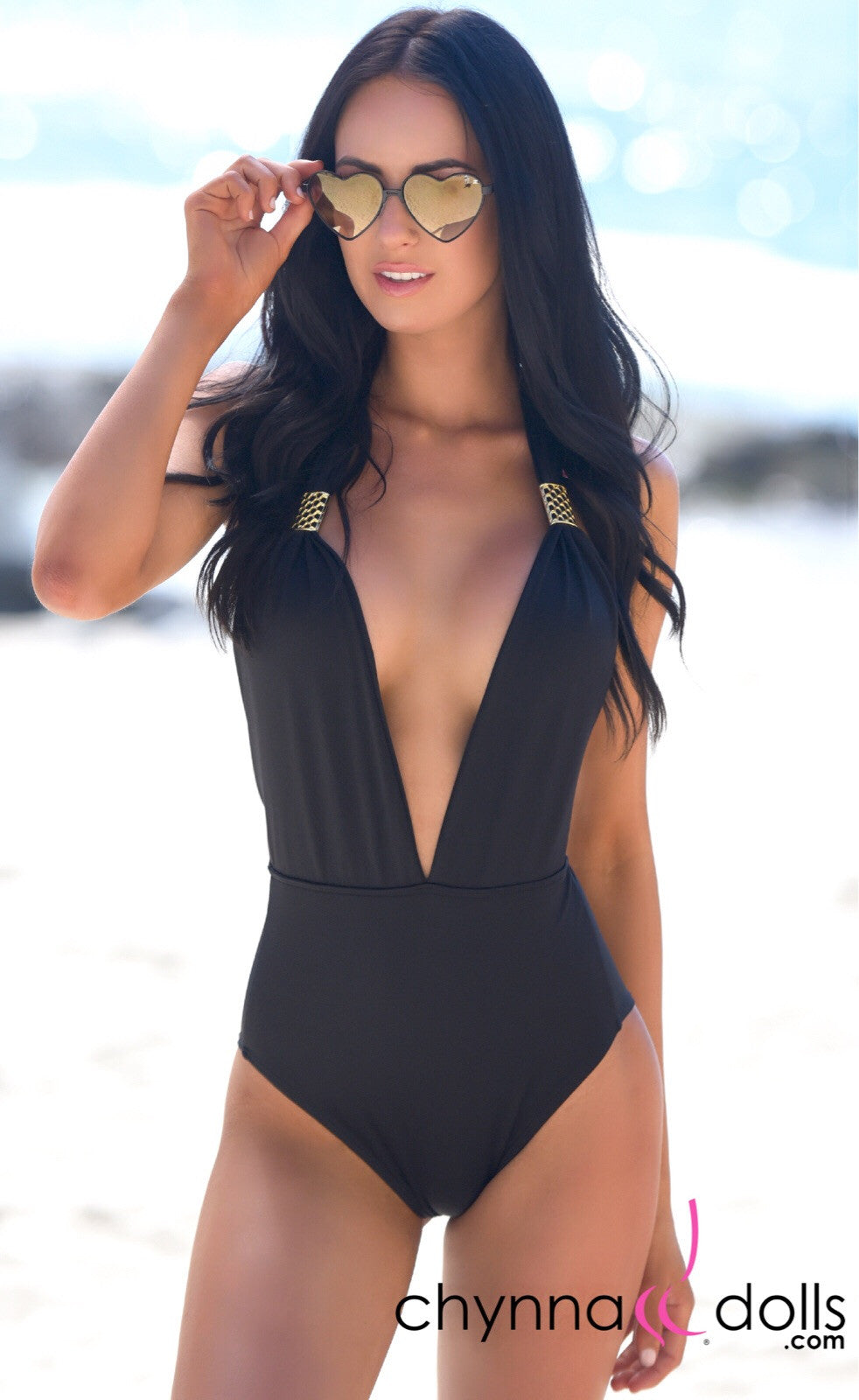 Selma: Deep plunge one piece w/ gold brooch in Black - Chynna Dolls