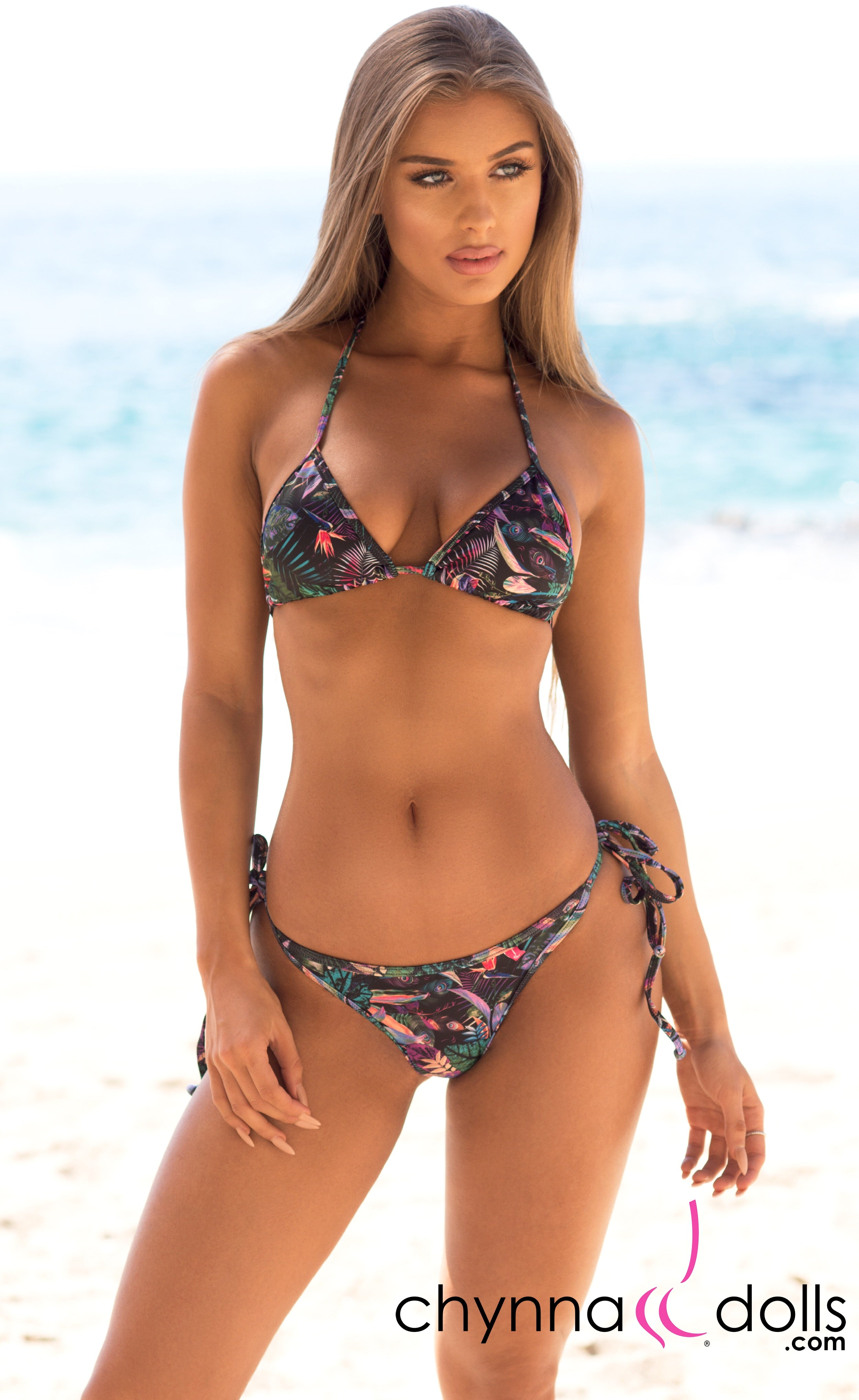 Laguna: String Bathing Suit in Chynna Dolls Exclusive Black Tropical Print