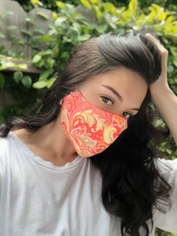 Face Mask: Reversible in Paisley x Pink - Chynna Dolls Swimwear