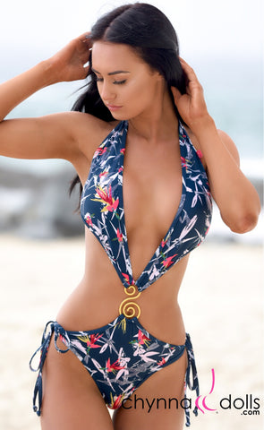 Sofia: Deep Plunging One Piece Swimsuit w/ S broach in Bird of Paradise