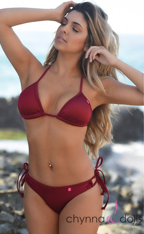 Copy of Hermosa: Double String Bathing Suit in Solid Wine.