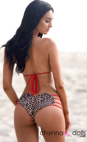 Heart Cake: Heart Shaped Reversible Bikini in Red x Leopard Print