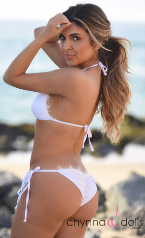 LIMA: Scrunch butt bikini in White with White Eyelash Lace trim.