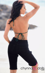 Bermuda: Above the knee denim shorts in black - Chynna Dolls Swimwear