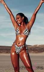 Sorrento: High Cut Bathing Suit in Zebra - Chynna Dolls Swimwear