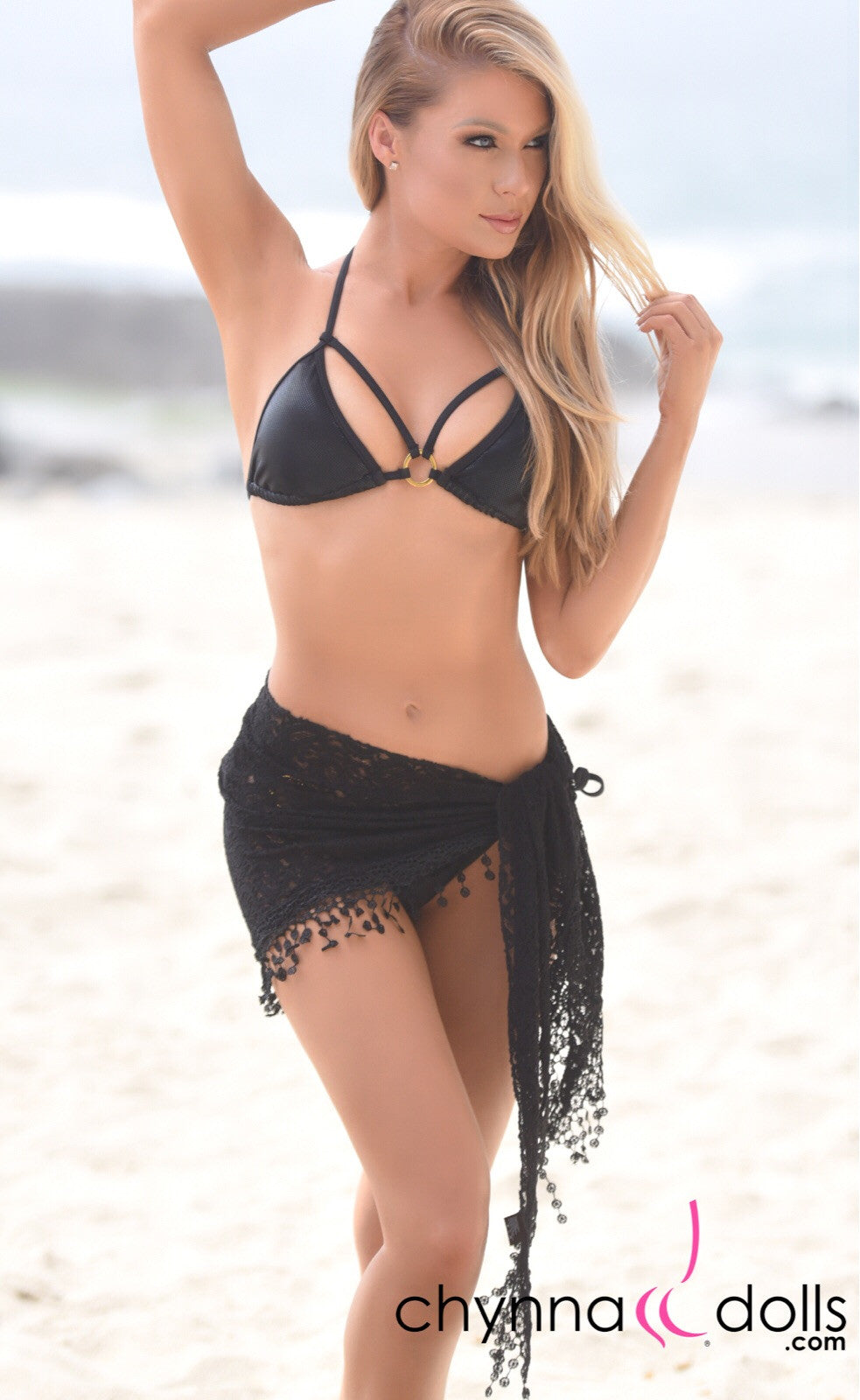 Lace Sarong with Crochet Tassel in Black