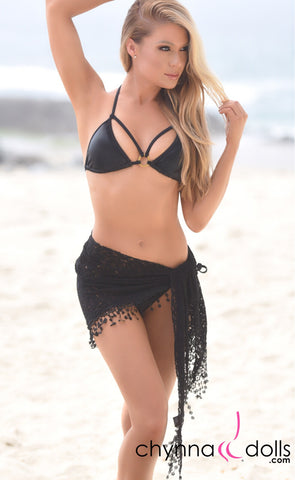Lace Sarong with Crochet Tassel in Black - Chynna Dolls
