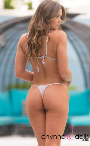 Rio: T-Back Thong Swimsuit in Baby Blue and Tan Stripes