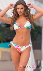 Hermosa: Double String Bathing Suit in Watercolor Flowers