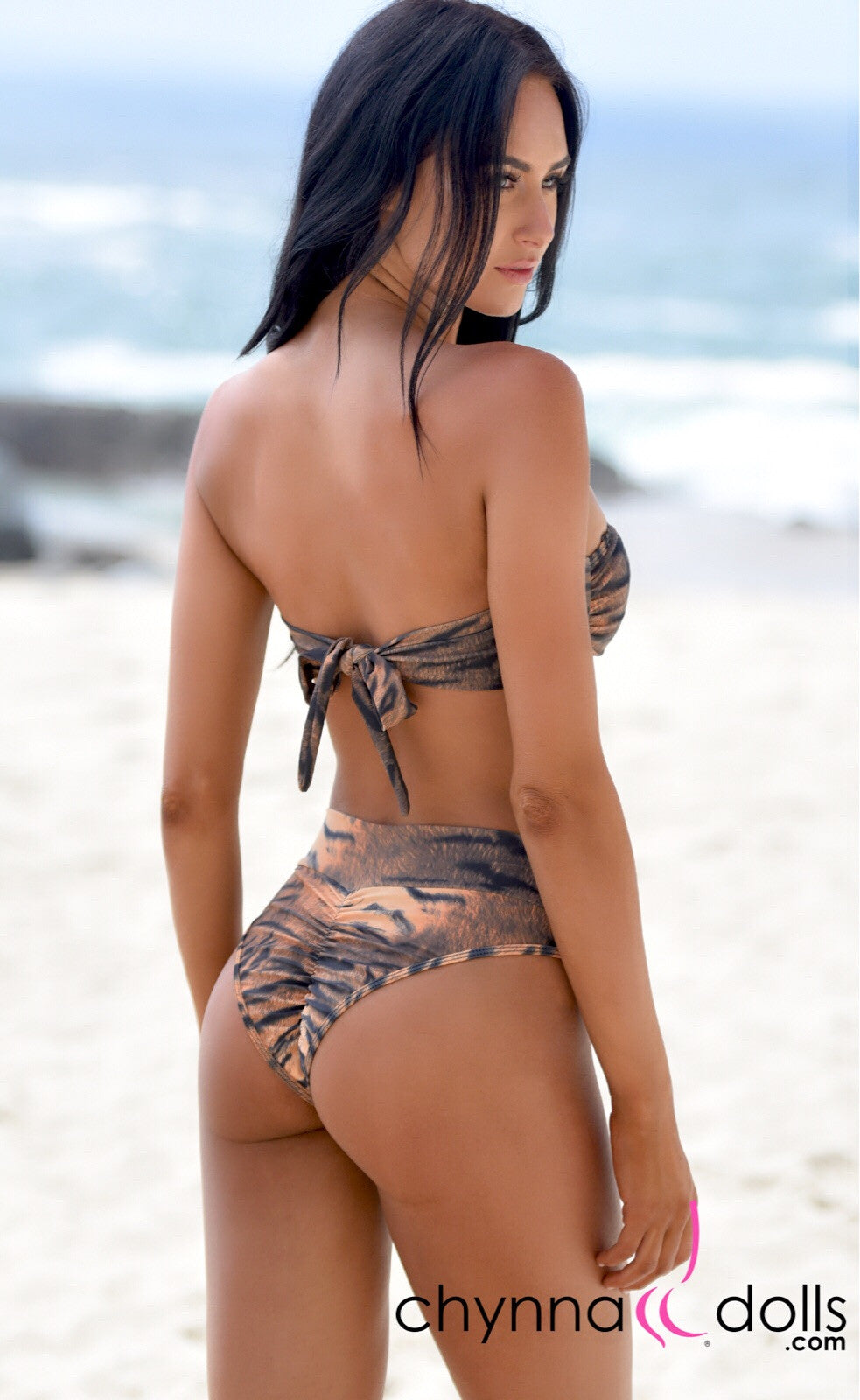 Soho: High Waisted Bottom w/ 2 Top Option in Tiger - Chynna Dolls Swimwear