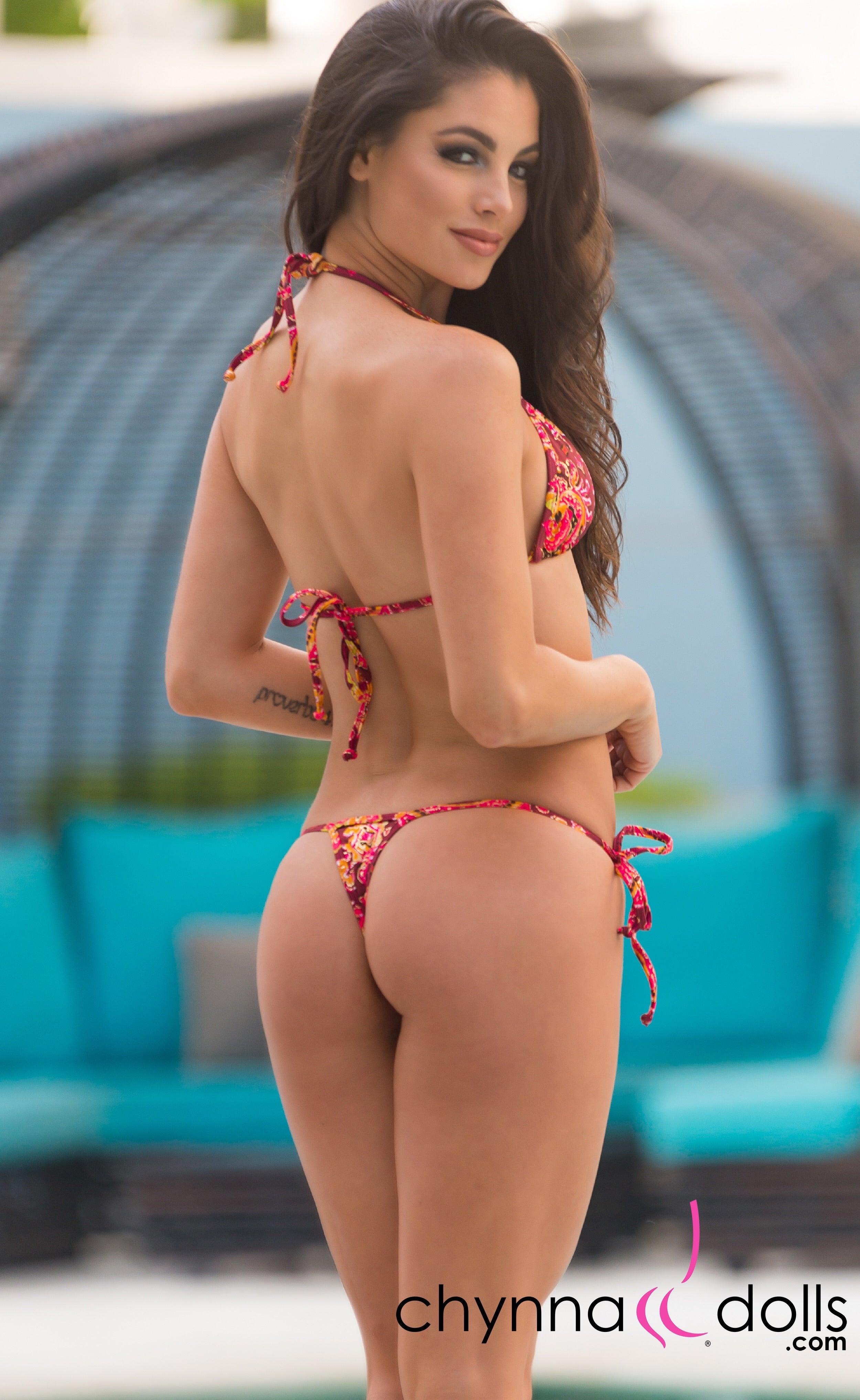 Rio: T-Back Thong Swimsuit in Burgundy/Gold print