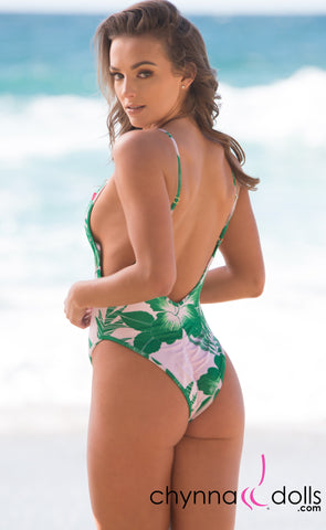 St. Martin: High Cut Swimsuit Monokini w/ Plunging Neckline in Tropical Foliage Print