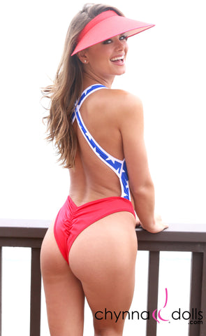 Verona: High Cut Monokini in Patriotic - Chynna Dolls Swimwear
