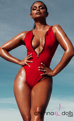 Naz: Zip Front One Piece in Red