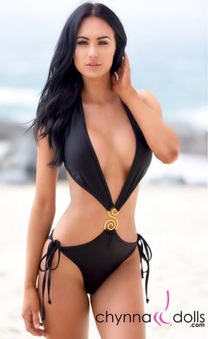 Sofia: Deep Plunging One Piece Swimsuit w/ S broach in Black