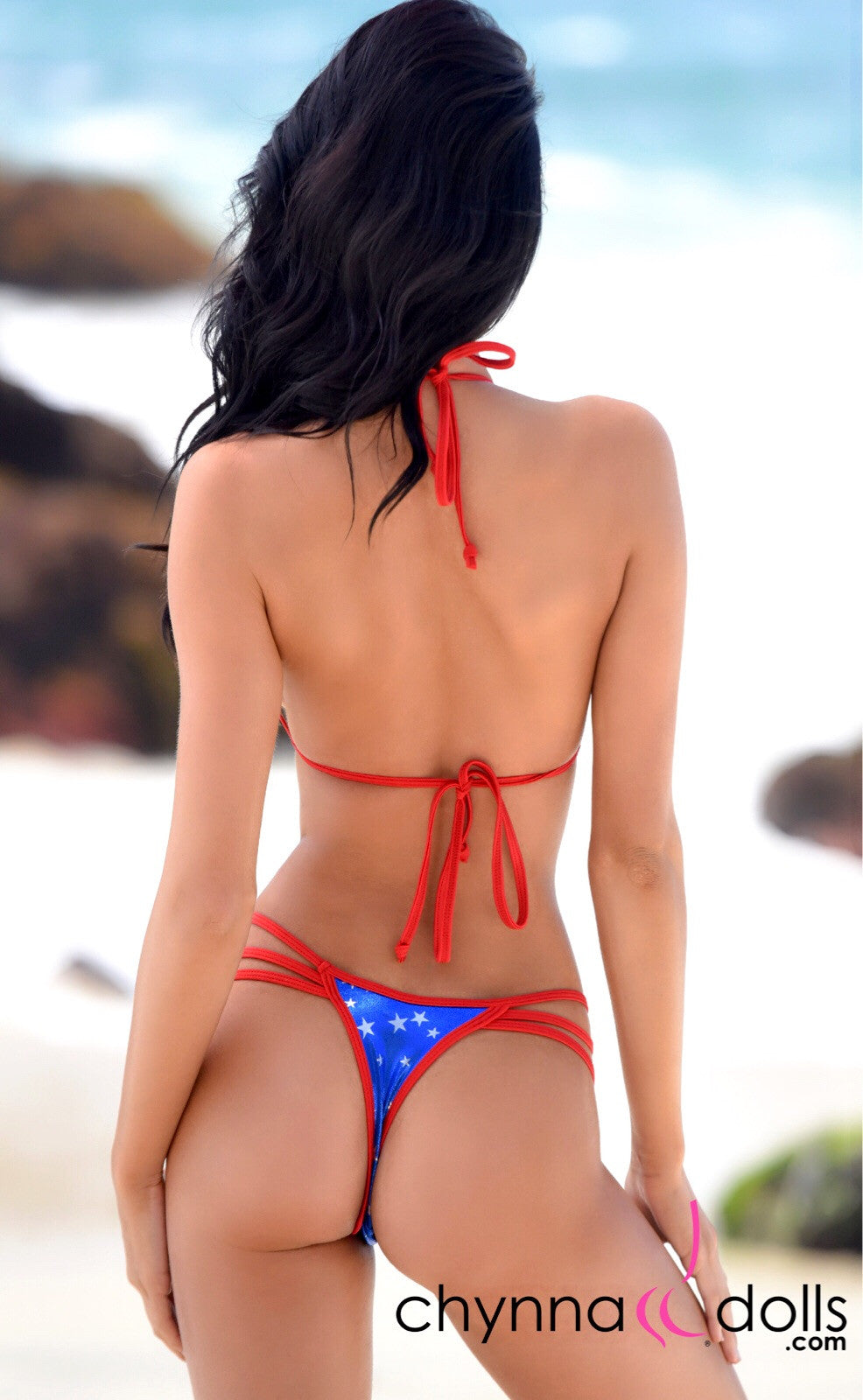 Myrtle Beach: Strappy Thong Bikini in Solid Royal/Silver Stars x Red Trim