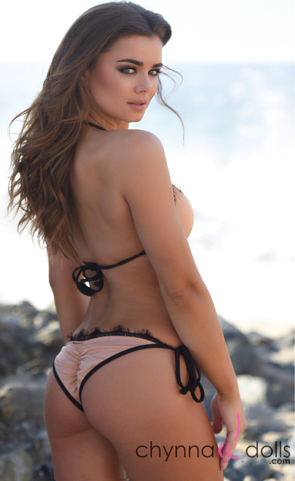 LIMA: Scrunch butt bikini in Blush with Black Eyelash Lace trim.
