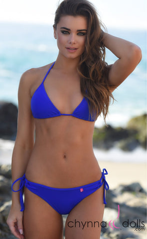 Hermosa: Double String Bathing Suit in Solid Royal Blue