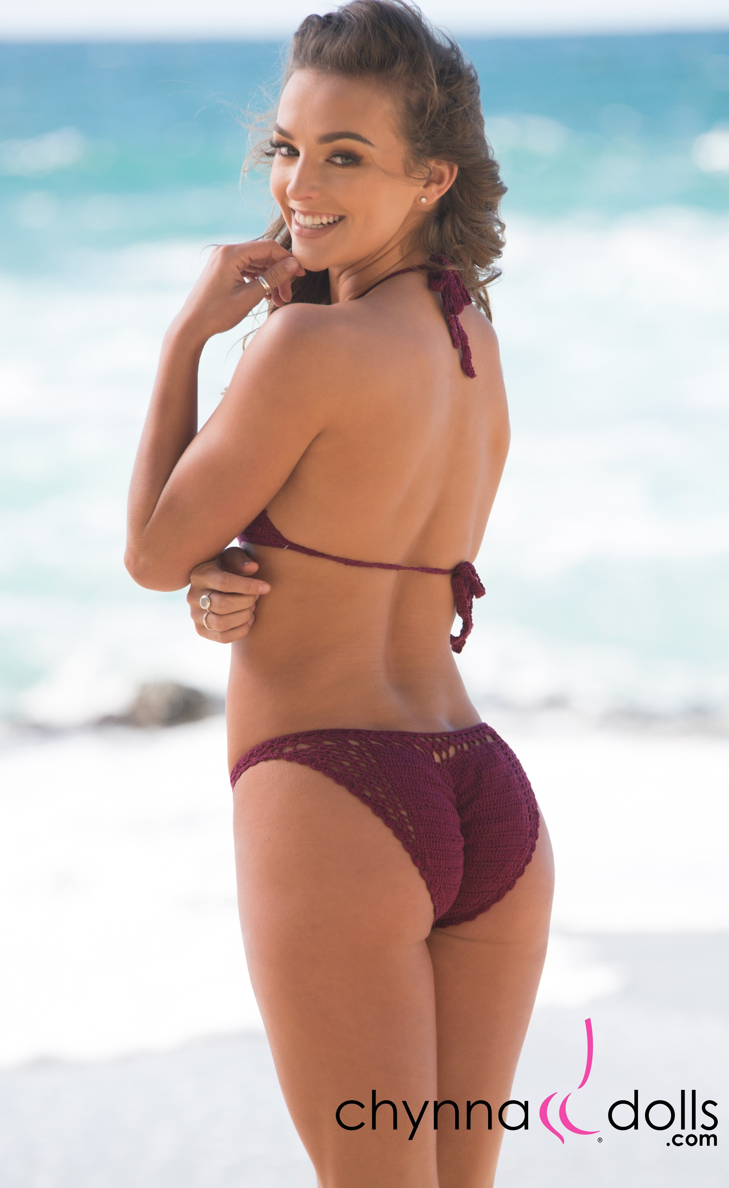 Acapulco: Crochet One Piece in Burgundy - Chynna Dolls Swimwear