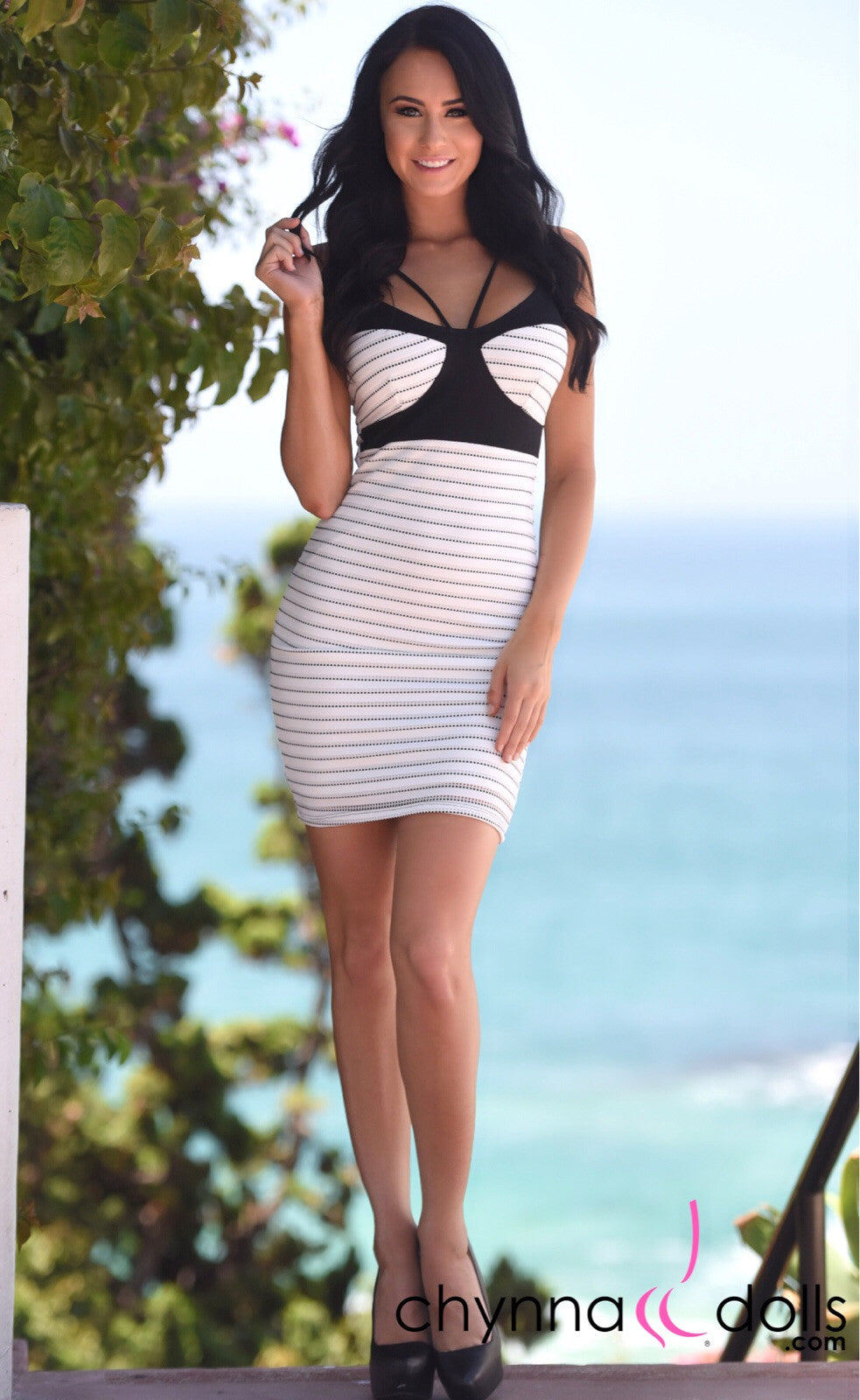 Becca: Double Spaghetti Strap Dress in Pinstripe - Chynna Dolls Swimwear