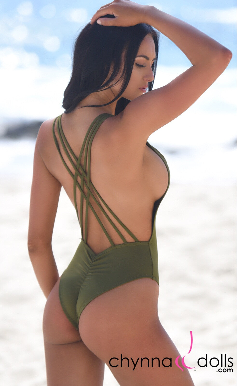 Valencia: Strappy criss cross back one piece swimsuit in Olive