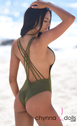 Valencia: Strappy cross cross back one piece swimsuit in Olive