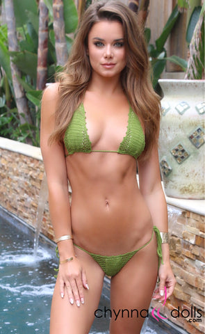 Miami: Crochet Micro 2 Piece in Olive Green