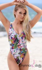 St. Martin: High Cut Swimsuit Monokini w/ Plunging Neckline in CDW Tropical Print