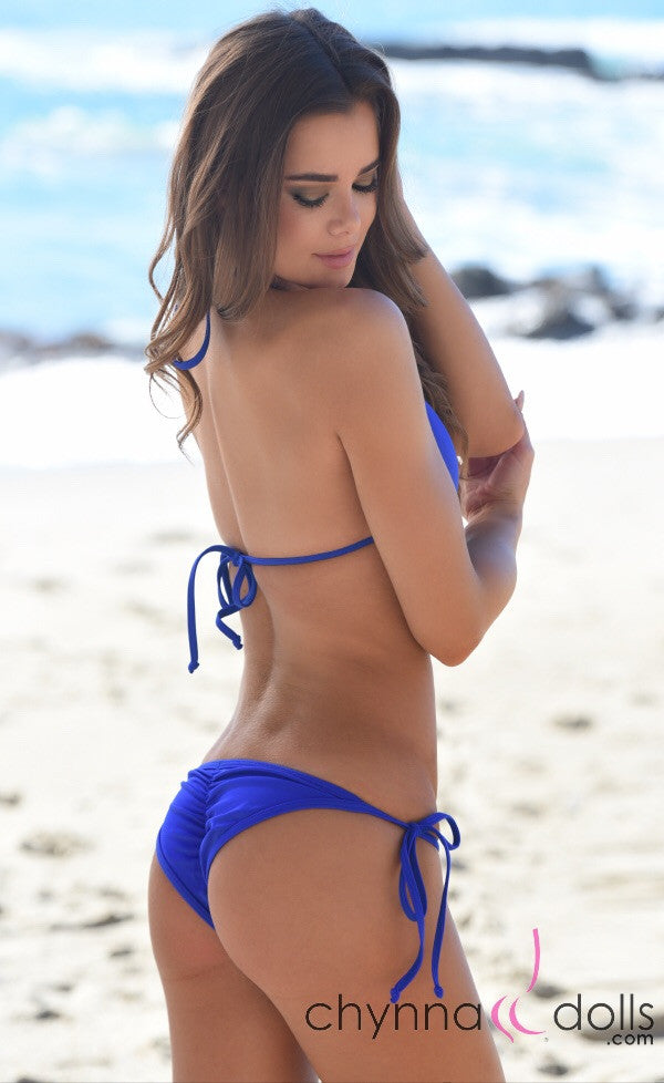 Victoria: Padded Push Up Swimsuit with Gold Rings Details in Royal Blue