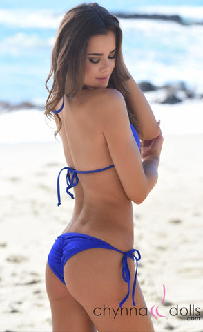 Victoria: Padded Push Up Swimsuit with Gold Rings Details in Royal Blue - Chynna Dolls