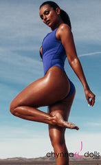 Naz: Zip Front One Piece in Royal Blue