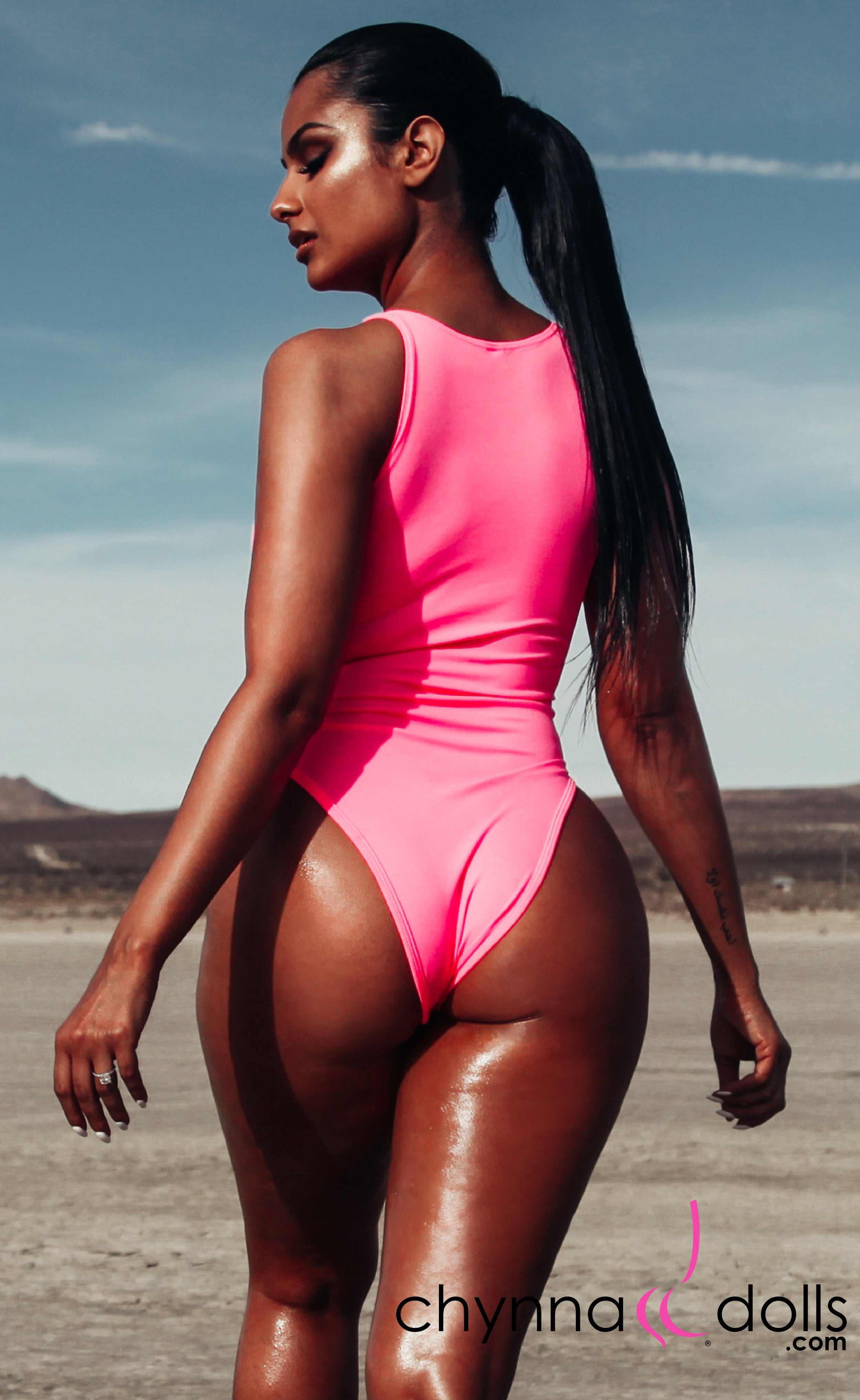Naz: Zip Front One Piece in Bubblegum Pink