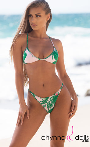 Laguna: String Bathing Suit in Tropical Foliage