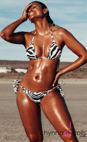 Laguna: String Bathing Suit in Zebra - Chynna Dolls Swimwear