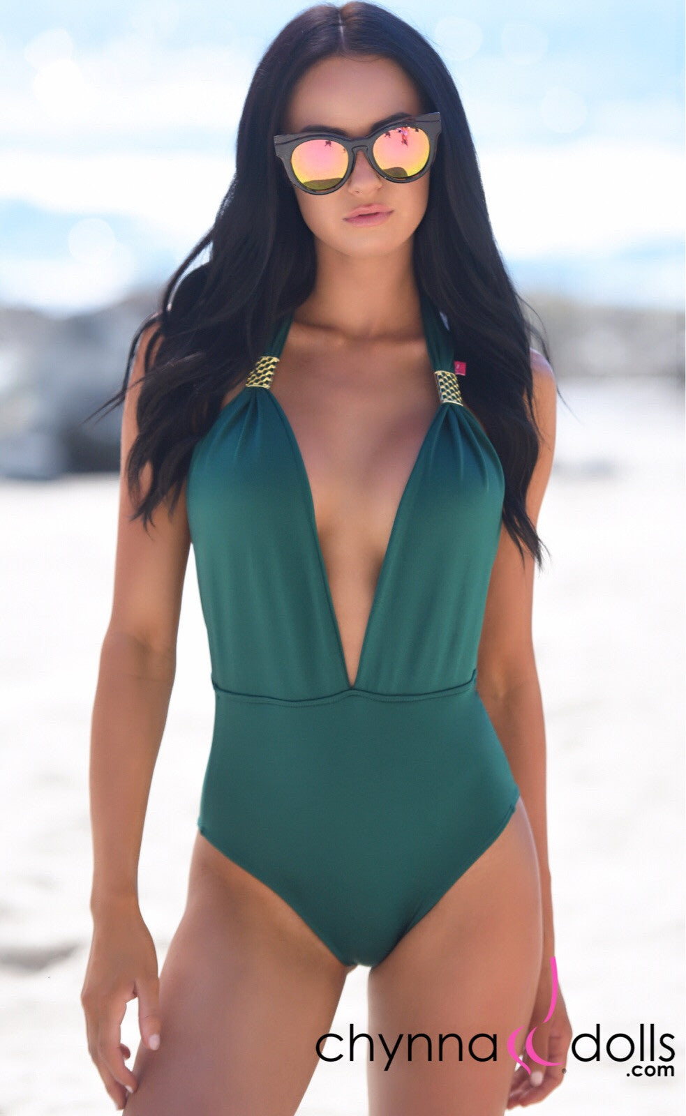 Selma: Deep plunge one piece w/ gold brooch in Hunter Green