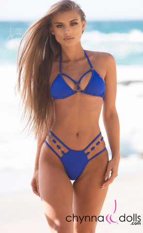 Lille: Strappy Bikini w/ Mini Loops in Royal Blue
