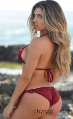 Laguna: String Bathing Suit in Solid Wine - Chynna Dolls Swimwear