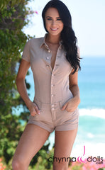 Romper: Stretch Denim Short Romper in Tan - Chynna Dolls Swimwear