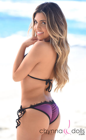 LIMA: Scrunch butt bikini in Eggplant Purple with Black Eyelash Lace trim.