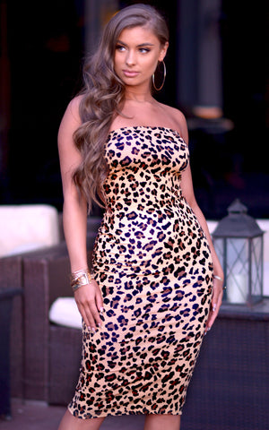 Sara: Strapless Bodycon Dress in Tan Leopard - Chynna Dolls Swimwear