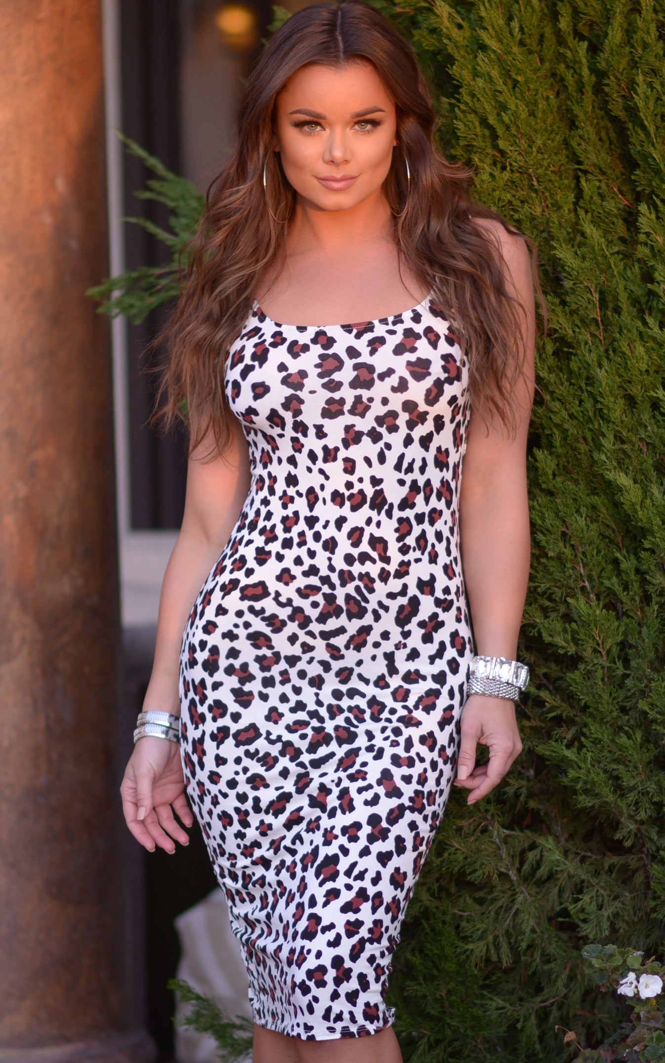 Claire: Bodycon Tank Dress with Slit in White Leopard - Chynna Dolls Swimwear