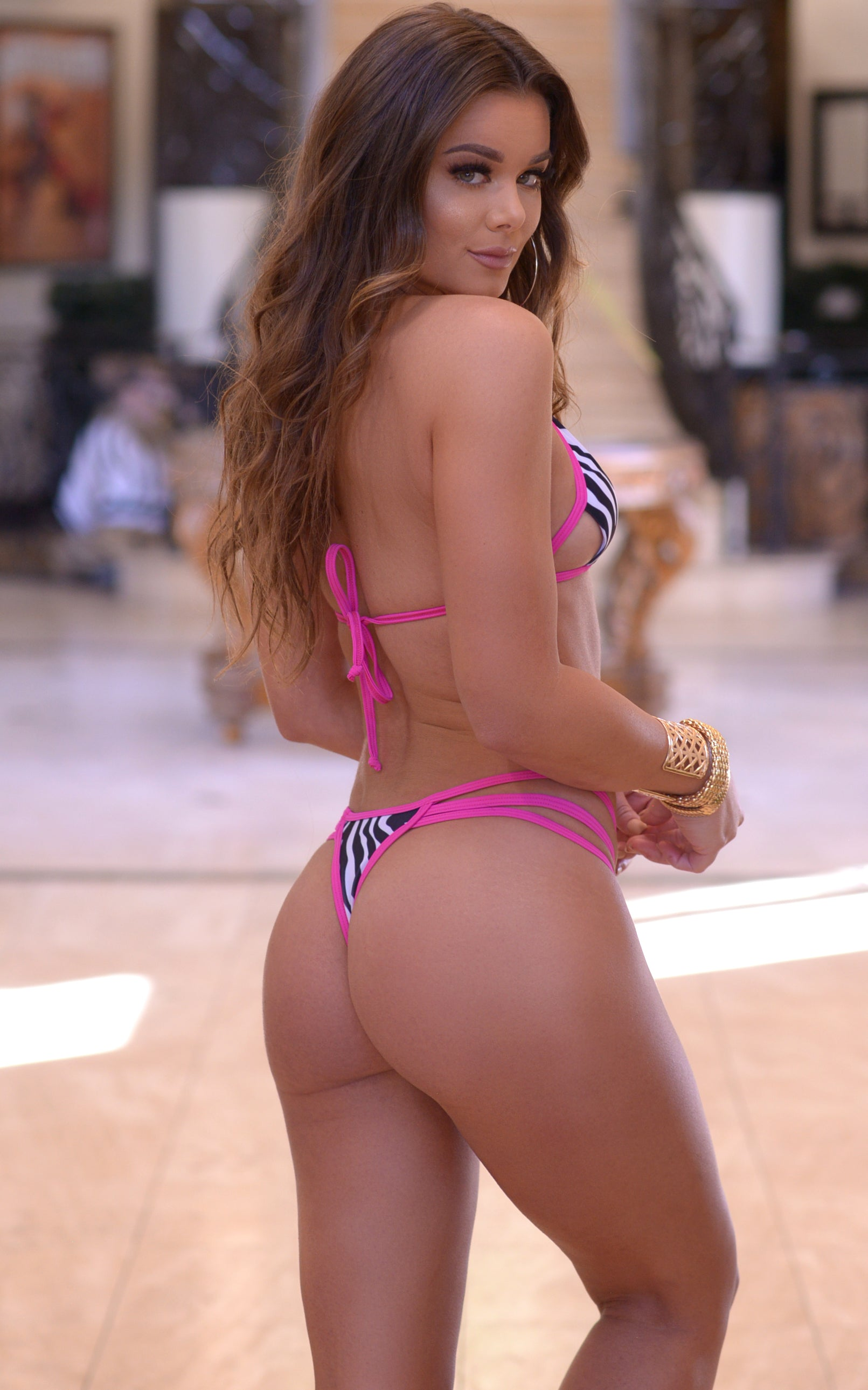 Myrtle Beach: Strappy Cut out Thong Bikini in Zebra/Pink - Chynna Dolls Swimwear