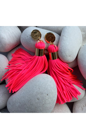 Earring: Short Tassel Earrings in Neon Pink and Multicolor - Chynna Dolls
