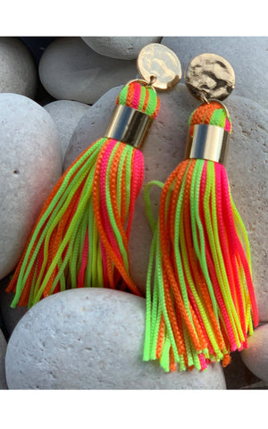 Earring: Short Tassel Earrings in Neon Pink and Multicolor - Chynna Dolls Swimwear