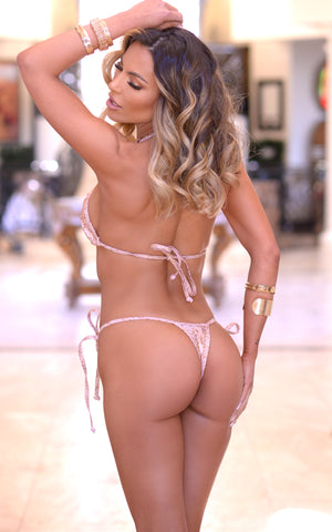 Rio: T-Back Thong Swimsuit in Hologram Snake - Chynna Dolls Swimwear