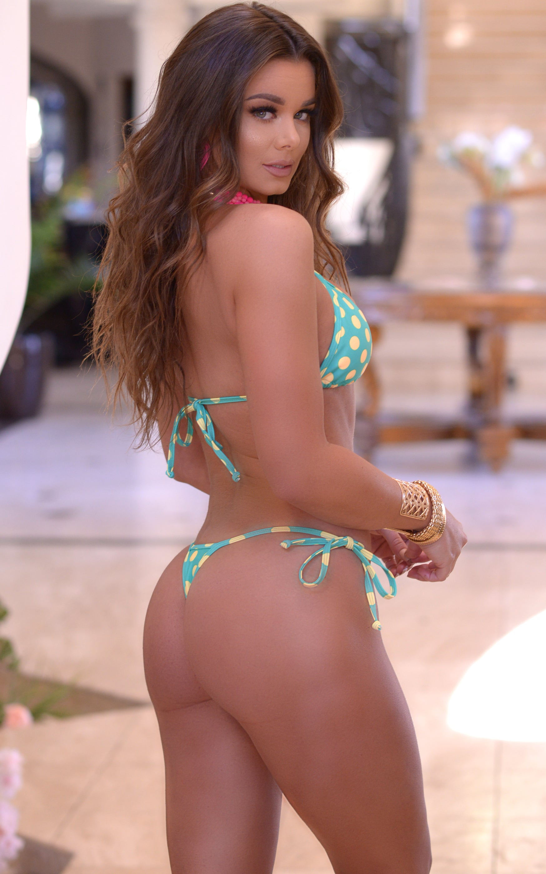 Rio: T-Back Thong Swimsuit in Mint/Yellow Polka Dots - Chynna Dolls Swimwear