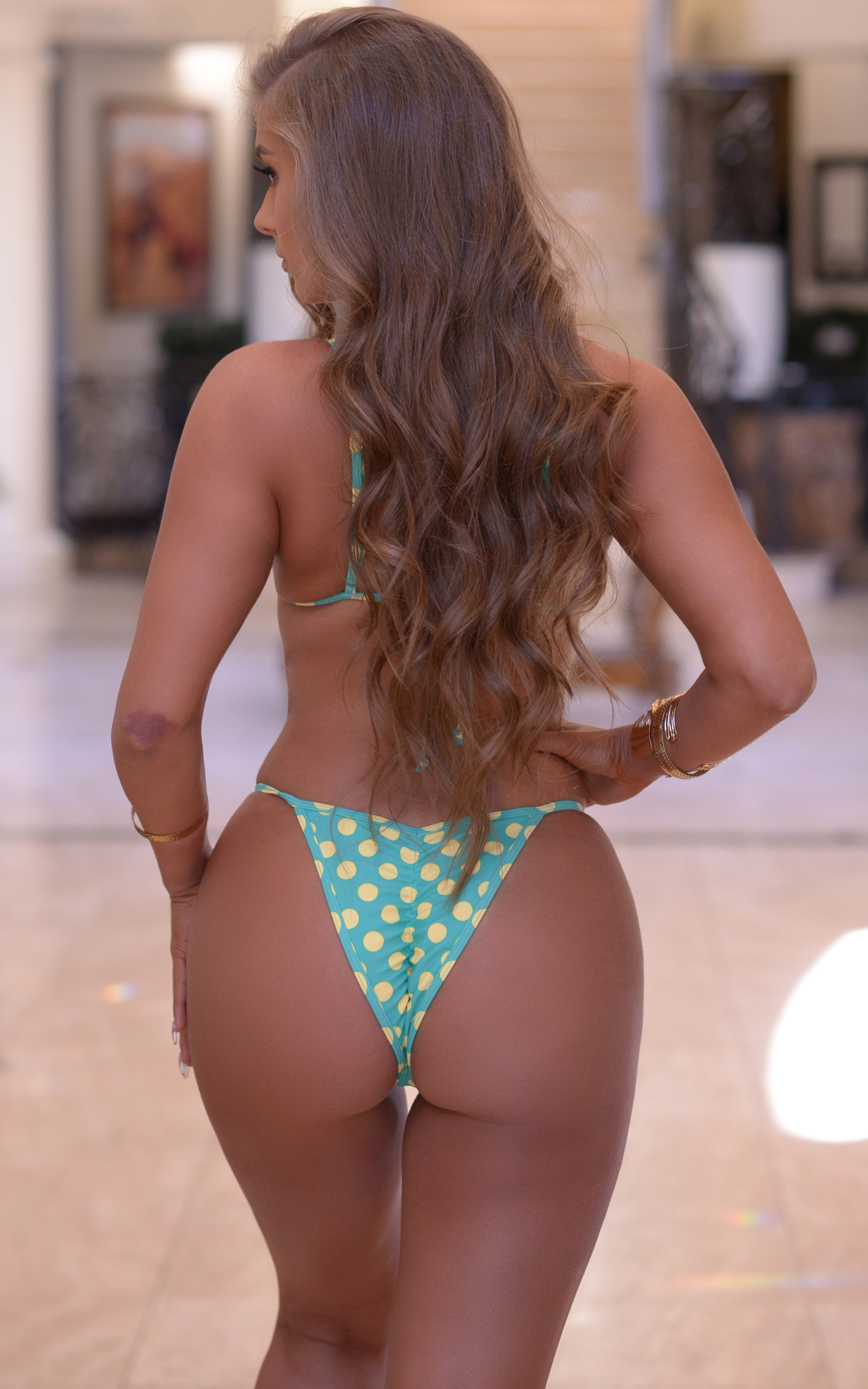 Sorrento: High Cut Bathing Suit in Mint/Yellow Polka Dots - Chynna Dolls Swimwear