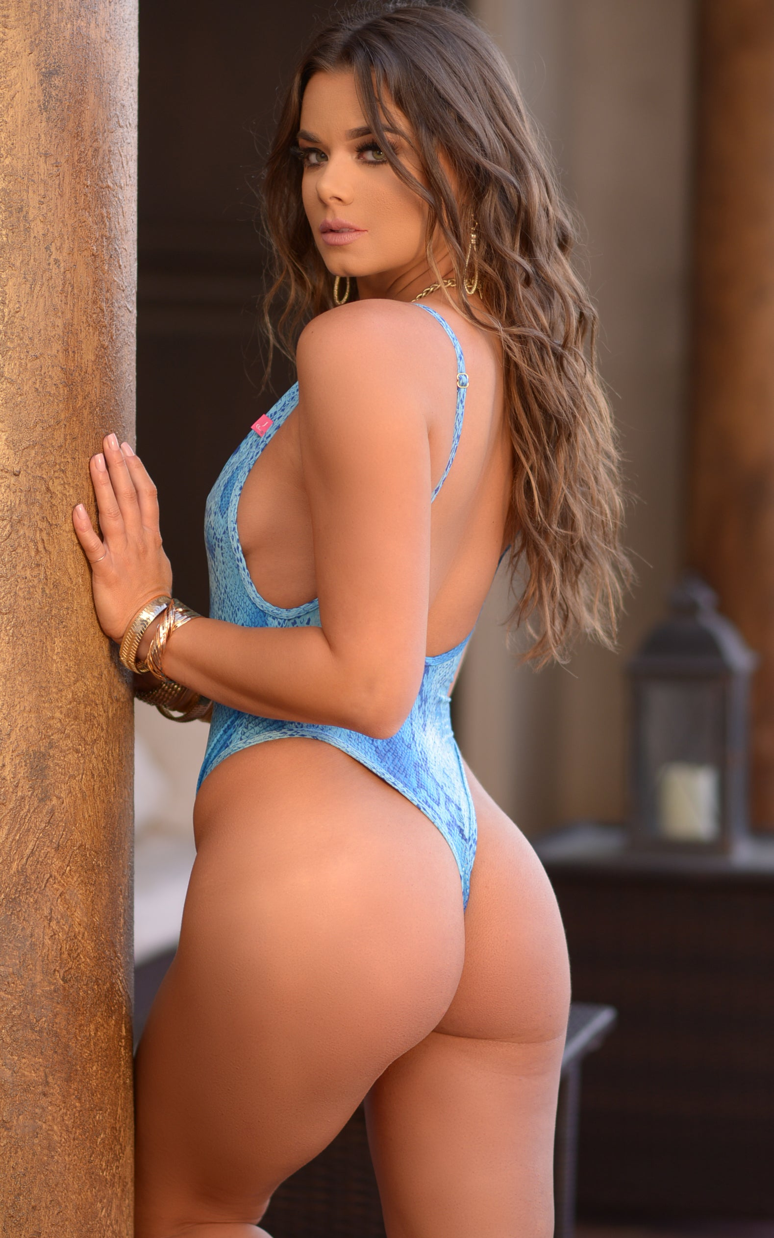 St. Martin: High Cut Monokini - Blue Snake - Chynna Dolls Swimwear