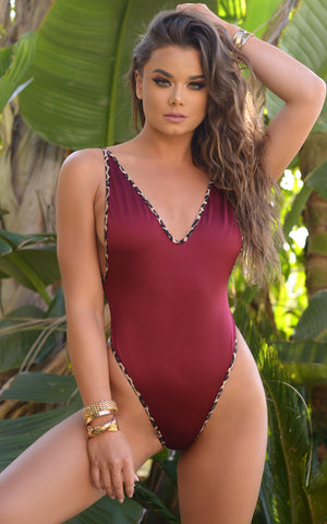 St. Martin: High Cut Monokini - Wine w/ Leopard Trim - Chynna Dolls Swimwear